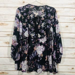 IJeans by buffalo floral long sleeve sheer blouse